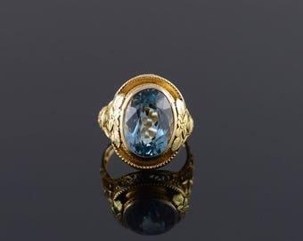 14k Blue Topaz Filigree Leaf Floral Bell Oval Ring Gold