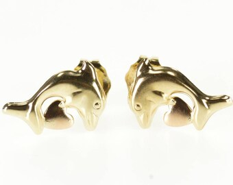 14k High Relief Dolphin Heart Post Back Stud Earrings Gold