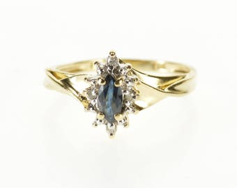 10k Sapphire Marquise Diamond Accented Halo Ring Gold