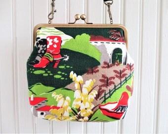 "Cowboy Boots Hat Desert Flower Adobe Southwest Vintage Barkcloth Fabric 8"" Antique Brass Kisslock Frame Crossbody Shoulder Bag Purse"