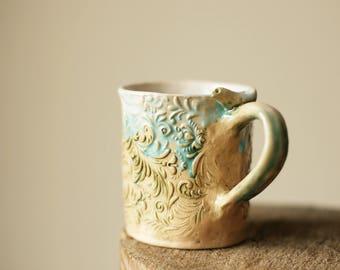 blue white mug textured tea cup ceramic coffee mug unique coffee mug hand built mug rustic mug cottage mug textured swirls