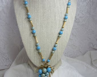 Vintage Combination Necklace/Brooch-Pendant - Light Blue Bead and Gold Tone Spacers
