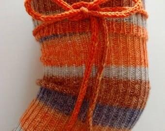 Over the knee Wool Socks,  Hand Cranked Socks, Thigh High Socks, Hand Made Wool Stockings, Knit Wool Socks, knee high socks, orange socks