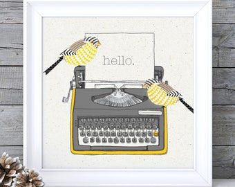 Mustard Yellow Decor, Mustard Yellow Art, Mustard Wall Art, Typewriter Print Typewriter Wall Art Ochre Wall Art Ochre Picture Retro Wall Art