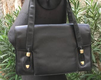 Vintage 70 's leather handbag black