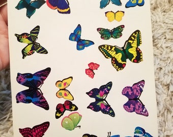 vtg 90's butterfly insect animal bug wing sticker sheet / totally rad super cool far out