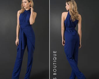 Royal blue woman jumpsuit, wrap arround jumpsuit, plus sizes,  maxi jumpsuit, elegant woman romper, sleeveless jumpsuit, summer overall
