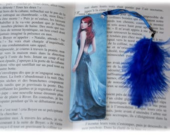 Plastified bookmark woman blue dress,
