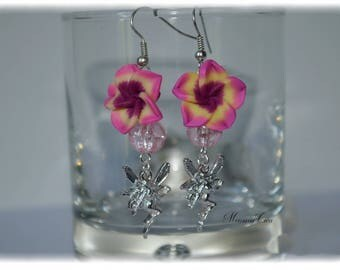 Earring flower fimo