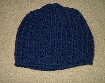 Hand Crocheted Messy Bun Hat~Navy~Size Medium