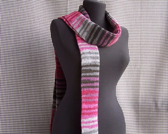 chunky long knitted warm striped gradient pink, raspberry, lilac and gray street fashion scarf cool gift for cool season