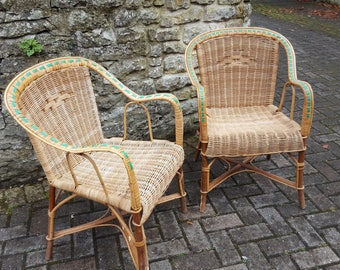 French Wicker Garden Chairs / Vintage French Chairs / Wicker Chairs / Wicker conservatory chairs / Wicker Lounge Chairs