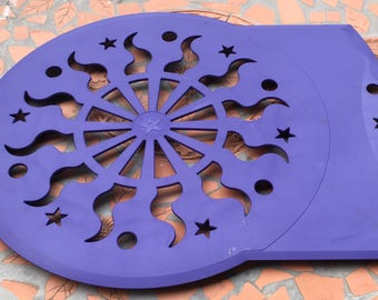 Vintage  Tupperware Cool'n Lift Cake Pie Rack Stencil Sun Stars Celestial  Design Cake Decorator Blue Part 3344 A