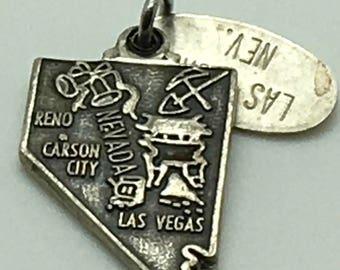 Las Vegas Nevada Reno Carson City State Map  Sterling Silver Charm  Travel Souvenir