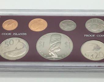Cook Islands 1972 Proof Coins Set Poynesian God Of Creation Fertility Seas Dong Pecker Pennis   Dollar Fish Coin Hibiscus Fairy Tern