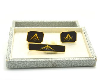 Vintage Costume Yellow Colored Masonic Pair of Cufflinks & Matching Tie Clip Set