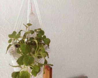 Macrame White Flowerpot
