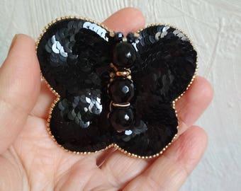 Butterfly brooch beaded black Butterfly Monochrome jewelry