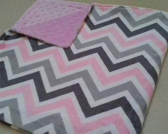 Pink and Gray Chevron Minky Baby Blanket