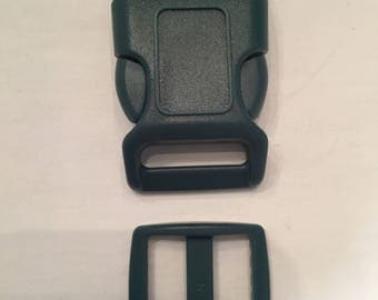 "Forest Green 1"" Curved Side Release Buckles and Slides"