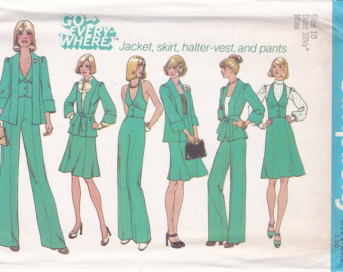 FREE US SHIP Simplicity 6896 Vintage Retro 1970's 70's Sewing Pattern Size 10 Bust 32 Uncut Halter Vest Jacket Pants Skirt Size 10 Bust 32.5