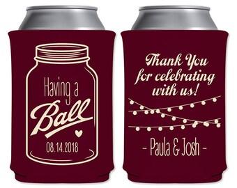 Rustic Wedding Can Coolers Beverage Insulators Customized Barn Wedding Favors | Having A Ball Mason Jar Hanging Lights | READ DESCRIPTION