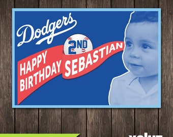 Dodgers Birthday Party Vinyl Banner (Dodgers Personal party decoration)