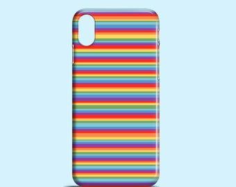 Rainbow Stripes iPhone X case, iPhone 8 case, Bright iPhone 8 case, colourful iPhone 7 case, iPhone 6, 6S, iPhone 5. 5S, SE, Samsung S7, S6