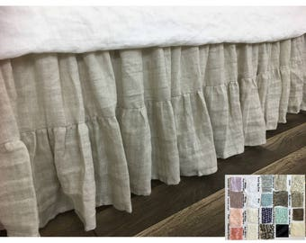 Linen Bed Skirt, Gathered Ruffle with Mermaid Long Ruffle Hem, over 40 colors to choose from, Masterpiece!