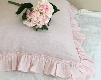 Blush Pink Euro Sham with Country Ruffles, Natural Linen,  12x16, 16x16, 18x18, 20x20, 24x24, 26x26 or custom size