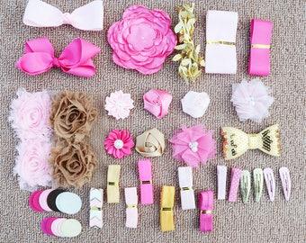 DIY Baby Shower Headband Kit, DIY Headbands, Headband Making Kit, Girls Headbands, Hot Pink, Pink, Gold Headbands