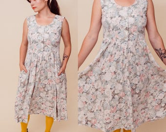 Fade Into You Midi Vintage Floral 80s Pastel Button-Up Dress