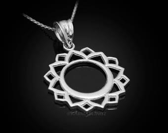 Sterling Silver Vishuddha (Communication) Chakra Yoga Pendant Necklace