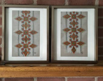 Original art/ Illustration/ duet/ pair/ wall decor/ ethnographic/ two souls/couple/ house warming/ wedding