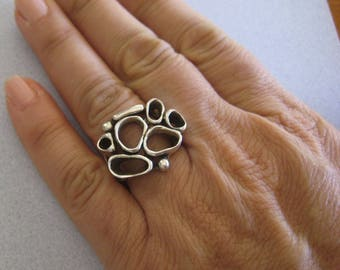 Mexican 925 Sterling Silver Taxco Oxidized Modern Open Ovals Drops Art Deco Big Statement Ring Size 6.5