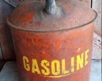 Antique Red Metal Gas Can Petroliana 2 Gallon Auto Garage Art Man Cave
