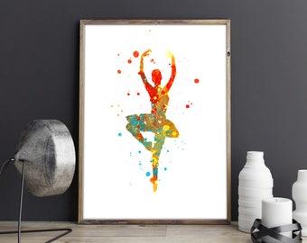 Ballerina Watercolor, Ballerina Painting, Watercolor Art, Home Decor,