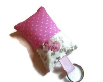 fabric, bag charm, pink, ecru, flowers, polka dot keychain
