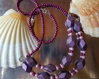 Necklace pink and purple pearls
