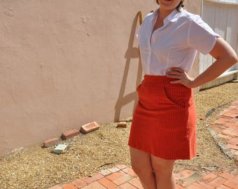 Vintage 1970s Handmade Orange Corduroy Miniskirt with Pockets