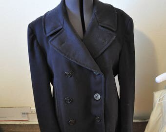 Vintage 1950s US Navy Wool Peacoat- Navy Blue/Anchor Buttons