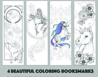 Instant Download Bookmark Coloring Horse Animal Flower Designs Printable PDF SALE 25 OFF