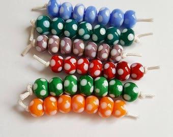 Polka Dot Beads - Spotty Beads - Polka Dot Lampwork - Lampwork Beads - Glass Beads - Mini Sets - Lampwork Glass - Dotty Beads - UK Made