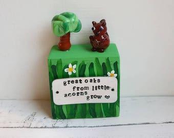 Great Oaks from Little Acorns - Childs Keepsake Gift - Lampwork Glass Keepsake - New Baby Gift - Baby Shower Gift - Great Oak Gift -Children