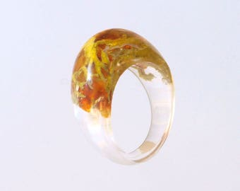Amber Ring, Resin Ring, Mineral Ring, Yellow Ring, Clear Ring, Resin Jewelry, Amber jewelry, Party ring, Summer ring,  Lichen midi ring