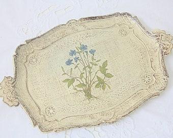 Small Vintage Italian Florentine Wooden Serving Tray, Botanical Design, Pervinca, Blue Flower Decor