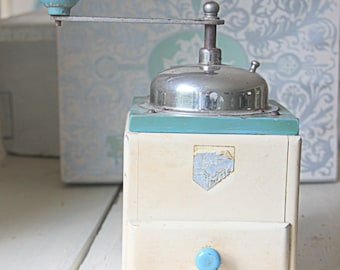 Vintage Cream, Green and Blue Wooden Coffee Grinder/Mill with Drawer