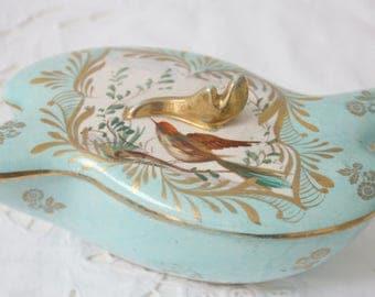 Vintage Aqua Blue Trinket Box by Hubert Bequet, Quaregnon, Hand Painted Bird Decor