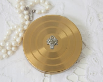Vintage Powder Compact Margaret Rose, Filled Powder Box with Mirror, Raised Flower Basket Decor