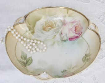 Lovely Antique Porcelain Candy Dish, Hand Painted Rose Decor, Schlegelmilch